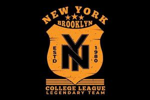 t-shirt tipografia brooklyn new york college league vetor