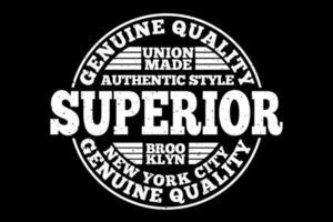 t-shirt tipografia superior brooklyn qualidade genuína estilo autêntico design vintage vetor