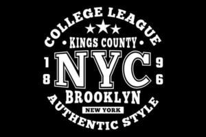 t-shirt tipografia brooklyn estilo autêntico college league estilo vintage vetor