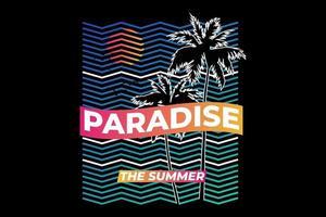 t-shirt paraíso verão praia pôr do sol retro estilo vetor
