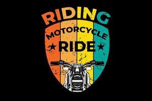 t-shirt motociclismo retro estilo vintage vetor