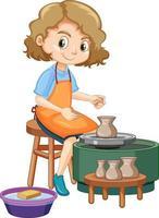 personagem de desenho animado fazendo argila de oleiro em fundo branco vetor
