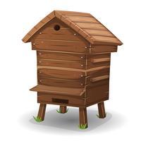 Colmeia de madeira para abelhas vetor