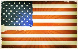 Vindima, bandeira americana, cartaz, fundo vetor