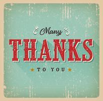 Muitos obrigados a você cartão retro vetor