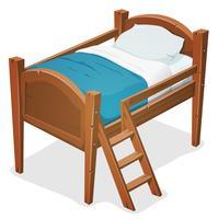 Cama de madeira com escada vetor