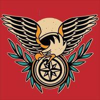 ilustração de tatuagem de águia com asas vetor