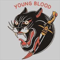 desenho de vetor de pantera com raiva preto e branco para tatuagem ou camiseta