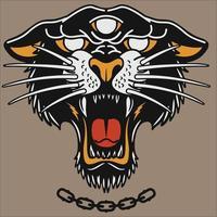 mascote cabeça de tigre ou pantera negra com logotipo vetor