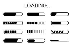 conjunto de ícones de carregamento de buffer de site. uma barra que mostra o status do download das informações no site. vetor