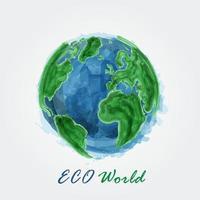 mundo ecológico. pintura em aquarela do mapa-múndi. conceito ecológico. vetor