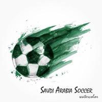 pintura em aquarela realista da seleção nacional de futebol da Arábia Saudita ou tiro de futebol. conceito artístico e esportivo. vetor