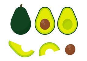vetor de abacate. abacate cortado em pedaços, há uma semente redonda dentro. para cuidados de saúde