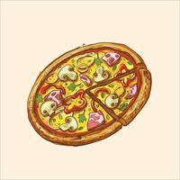 ilustração vetorial de madeira de fatia de pizza inteira vetor