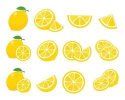 limões amarelos azedos. limões com alto teor de vitamina C são cortados em rodelas para a limonada de verão. vetor