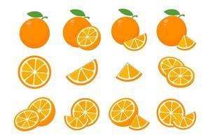 laranjas doces são cortadas ao meio para beber suco de laranja durante o verão. vetor