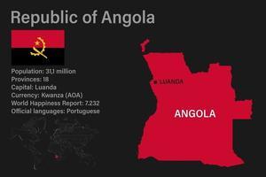 mapa de angola altamente detalhado com bandeira, capital e pequeno mapa do mundo vetor