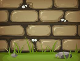 Olhos dentro da parede de pedra rural vetor