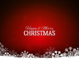 Fundo vermelho feliz Natal com flocos de neve vetor