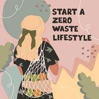 ilustração em vetor colorida de linda jovem com saco ecológico, na moda vestida em fundos abstratos. conceito de desperdício zero. comece um estilo de vida sem desperdício