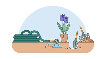 Plantando Flores Vector