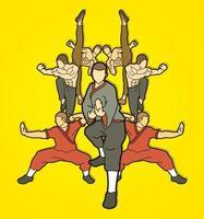 grupo de lutador de kung fu luta ação vetor