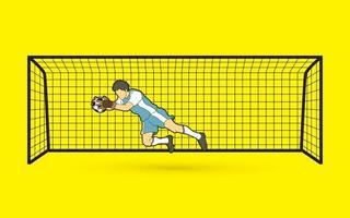 ação do goleiro de futebol vetor
