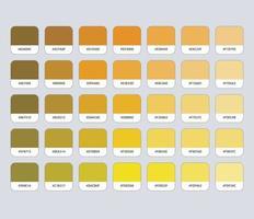 paleta de cores amarelo ocre com hexadecimal vetor