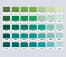 paleta de cores verdes com hexadecimal vetor