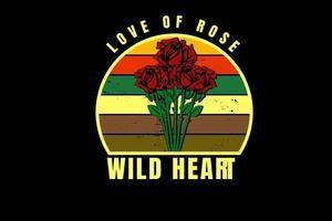 amor de rosa coração selvagem cor amarelo laranja vermelho e verde vetor