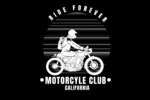 passeio para sempre motocicleta clube califórnia cor branco vetor