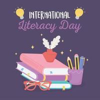 dia internacional da alfabetização, tinta e pena nos livros, óculos e lápis vetor