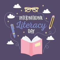 dia internacional da alfabetização, livro aberto caneta lápis óculos educacionais vetor