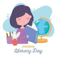dia internacional da alfabetização, livro de leitura de aluna, lápis de mapa escolar na xícara vetor