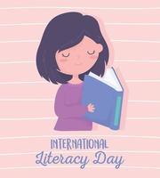 dia internacional da alfabetização, livro de leitura de linda garota, fundo listrado vetor