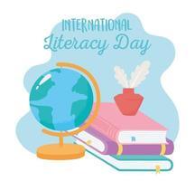 dia internacional da alfabetização, livros de mapas escolares e educação sobre tinta vetor