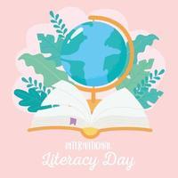 dia internacional da alfabetização, mapa do globo escolar e livro vetor