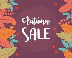 venda de outono, folhas de fundo letras de venda de compras ou cartaz promocional vetor