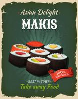 Cartaz retro de Makis do japonês