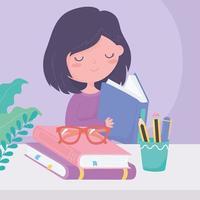 dia internacional da alfabetização, menina lendo livro com óculos e lápis na xícara vetor