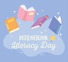 dia internacional da alfabetização, livros didáticos, escola de conhecimento da literatura vetor