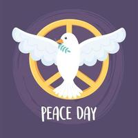 pombo do dia internacional da paz com folha no emblema do bico vetor