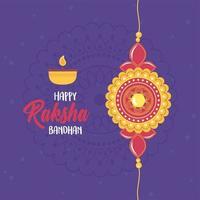 raksha bandhan, pulseira de amor irmãos e irmãs indianos, celebração de letras de velas vetor