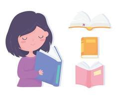 dia internacional da alfabetização, livro de leitura de garotinha fofa vetor