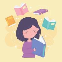 dia internacional da alfabetização, livro de leitura de meninas e educação de livros vetor