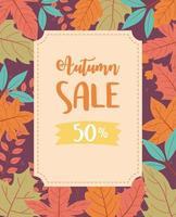 liquidação de outono, texto em liquidação e folhas de bordo coloridas, liquidação de compras ou pôster promocional vetor