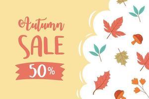 venda de outono, venda de compras ou letras de cartaz promocional e folhas de bordo de bolotas vetor