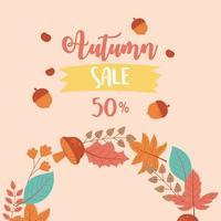 venda de outono, folhas de outono e texto com desconto de publicidade vetor