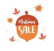 liquidação de outono, folhas enormes com letras de bolota, liquidação de compras ou pôster promocional vetor