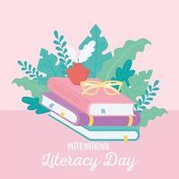 dia internacional da alfabetização, óculos de tinta e pilha de livros de educação vetor